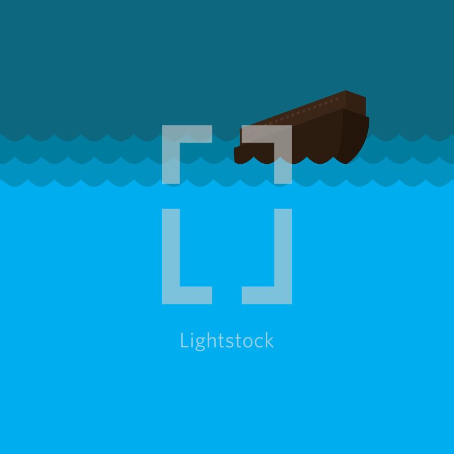 Flat illustration of Noah's ark in the flood