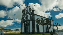 Ermida de Nossa Senhora Mae de Deus church in Ponta Delgada, The Azores, Portugal against a blue sky