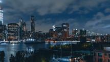 Lower Manhattan at Night from Brooklyn Heights Promenade