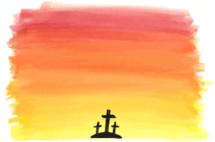 Vector watercolor background of 3 crosses against a colorful sky.