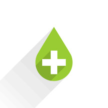 Blood drop vector illustration. Green drop with a white criss cross on a white background. The universal First Aid symbol blob icon with plus sign is created in a flat style with long shadows. The design graphic element is saved as a vector illustration in the EPS file format for used in your design projects.