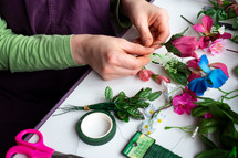making homemade flower arrangements