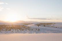 snow scene at sunrise