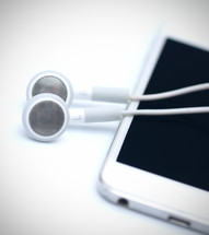 earbuds and iPod