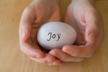 "Hands holding an egg with the word ""joy"" written on it."