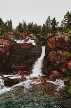 waterfall on red rock