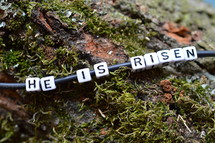 He Is Risen beads on a bracelet on a mossy log