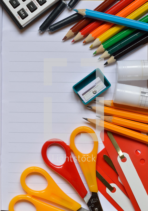 Colorful school supplies.