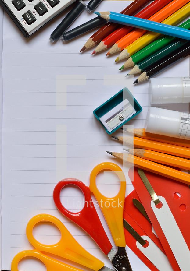 Colorful school supplies.