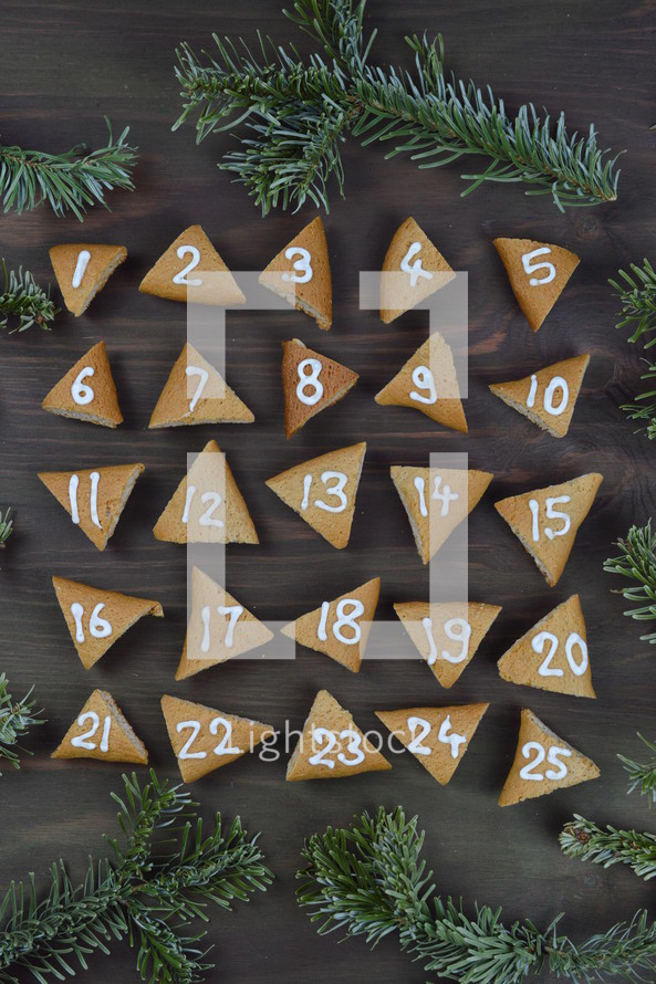 advent cookies on gray wood with pine boughs