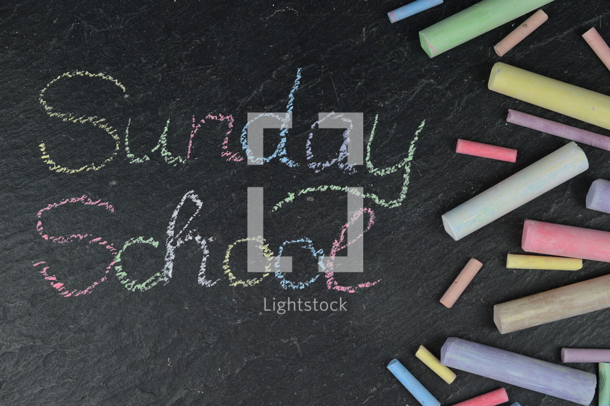 chalk on slate and Sunday School