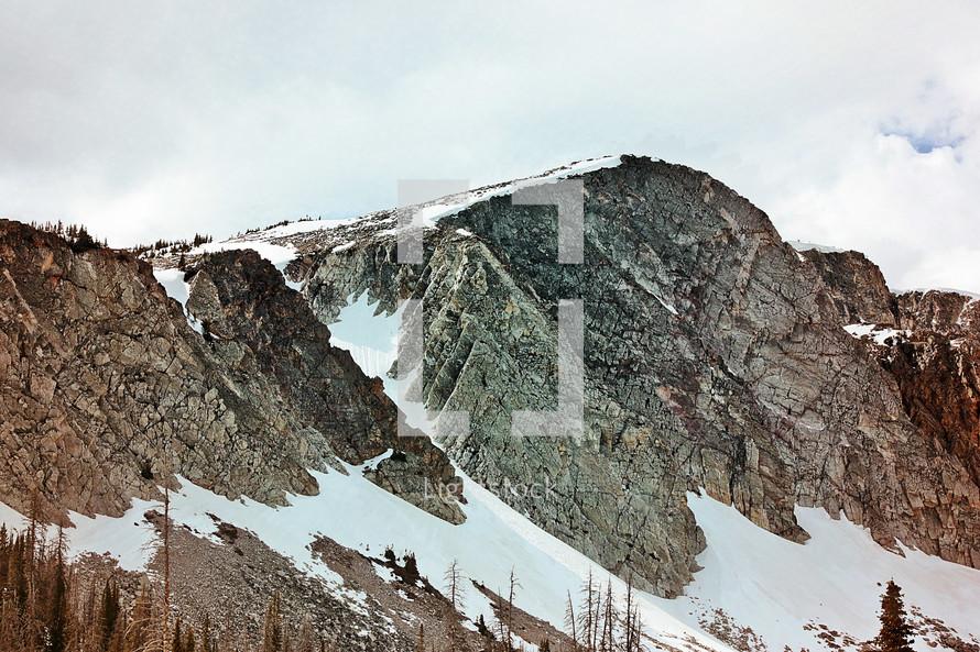 snow on a rugged mountain peak