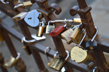 lovelocks at a bridge in Europe.