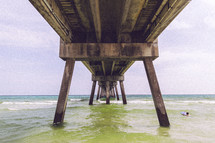 ocean water under a pier
