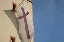 flag with purple cross on it