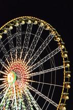 Ferris wheel by night,  amusement, Ferris wheel, joy, party, night, fun, pleasure, enjoy, enjoyment, big, giant, big wheel, giant wheel, wheel, observation wheel, ride, fair, funfair, fête, county fair, State Fair, delectate, amuse, zest, delight, treat, hedonism, greed, craving, addiction, light, lights, colorful, colourful, color, colour, multicolored, colorfully