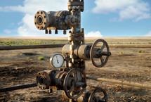 old rusty oil rigs with pressure valve