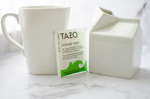 mint tea with milk