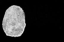 A white thumbprint