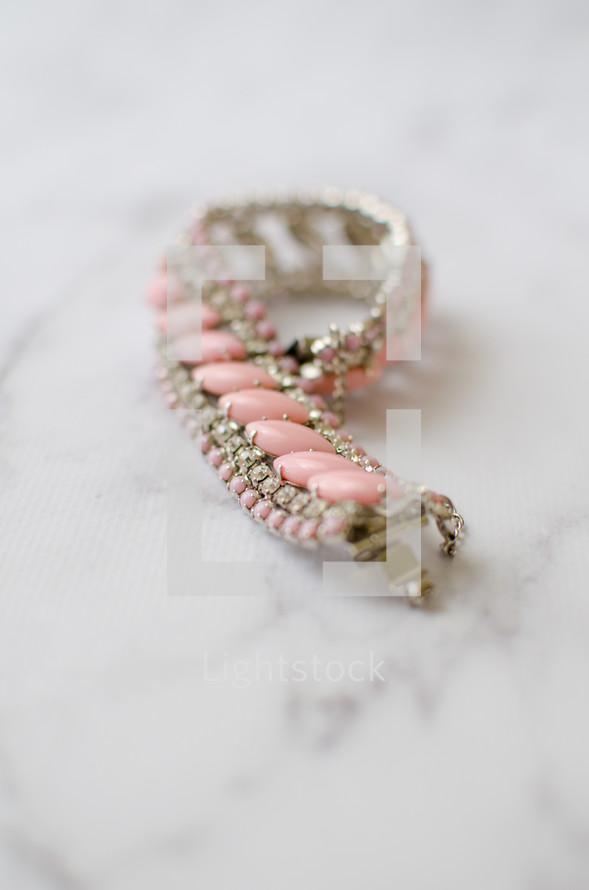 pink costume jewelry bracelet