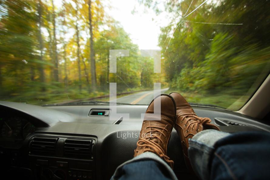 feet on the dash