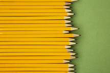 row of sharpened pencils