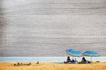 layered background with beach scene