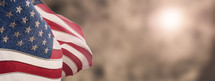 American National Holiday. US Flags with American stars, stripes and national colors. President's Day. 4th July. Veterans Day. Memorial Day.