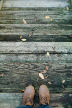boots standing on a deck