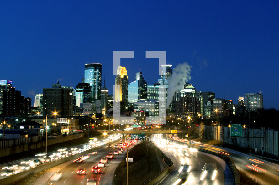 Traffic in a city at night in Minneapolis