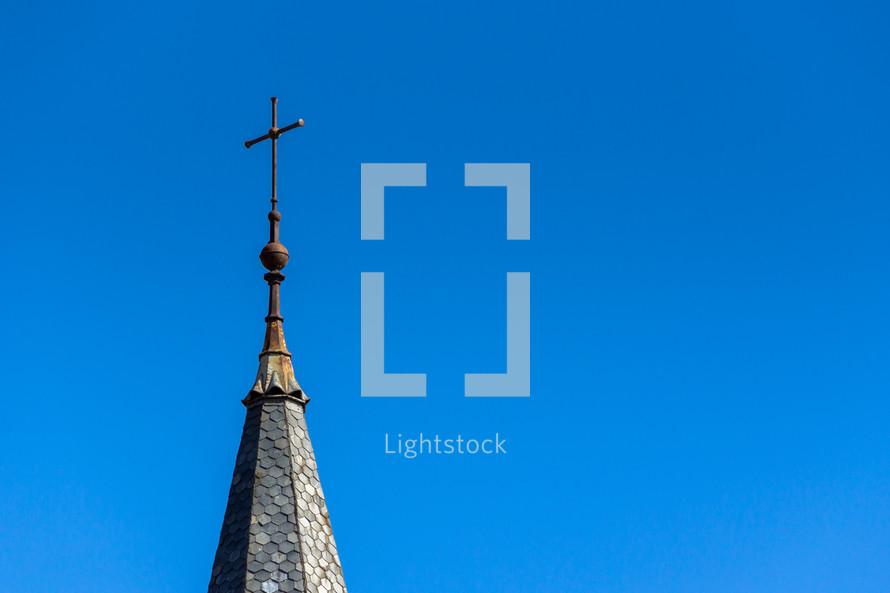 Cross against a blue sky.