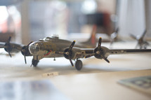B-17 model airplane on a desk