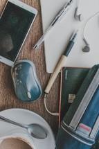 items on a man's desk