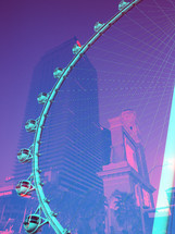 Pop Art Double Exposure of Las Vegas Hotels and High Roller Ferris Wheel