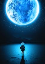 child astronaut running under the moon