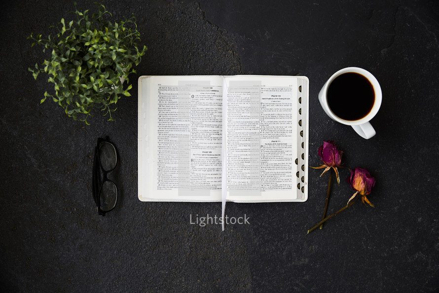 houseplant, reading glasses, open Bible, coffee cup, and dried roses on black
