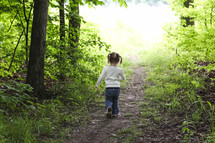 a toddler girl walking on a path