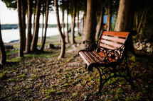 park bench by a lake shore