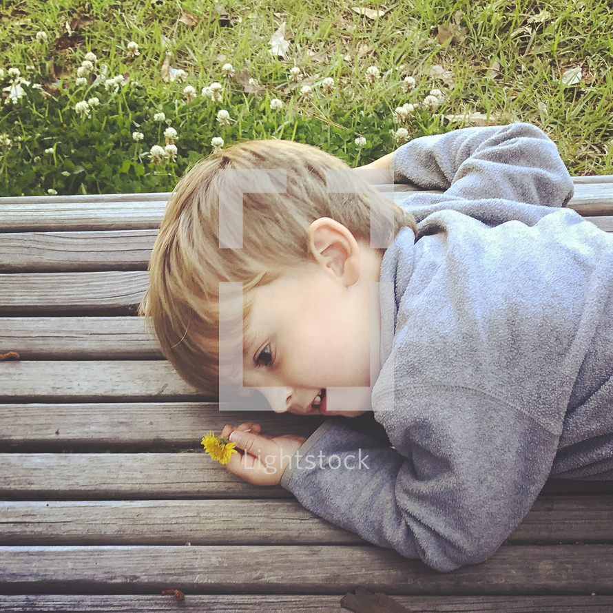 toddler boy picking flowers and resting on a park bench
