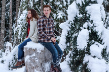 a couple sitting on a tree stump in winter snow