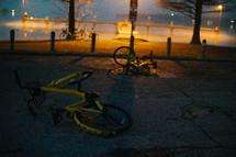 rental bikes lying on a road