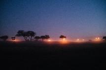 fog and street lights at night