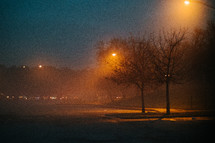 street lights and fog at night