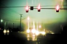 blurry street lights at night