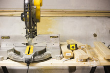 table saw and wood