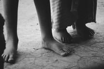 bare feet of children in Rwanda