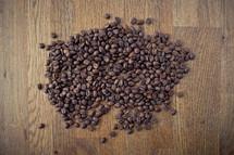 spilt coffee beans