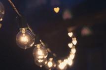 string of hanging light bulbs