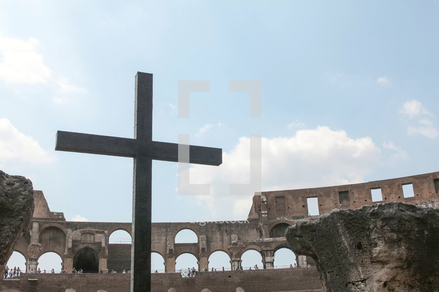 cross in the Coliseum in Rome