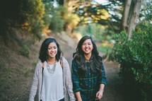 friends walking along a path outdoors
